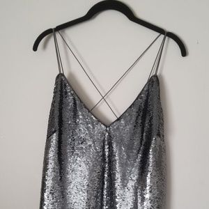 Over sequin cami midi dress
